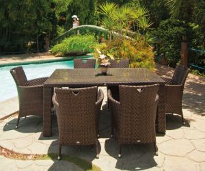 Alexander Rose Ocean 6 Seater Rectangular Garden Furniture Set with Wave Armchairs