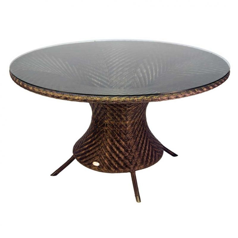 Alexander Rose Ocean Wave 130cm Rattan Garden Table