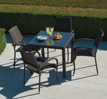 Alexander Rose Ocean 4 Seater Square Garden Furniture Set with Fiji Armchairs