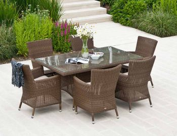 Alexander Rose San Marino Wicker Squared Top Garden Armchair with Cushion