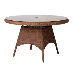 Alexander Rose San Marino 120cm Round Wicker Garden Table with Glass