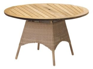 Alexander Rose San Marino 120cm Round Wicker Garden Table with Reclaimed Teak Top