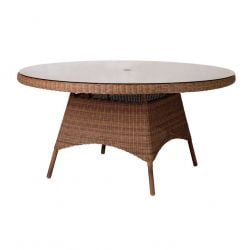Alexander Rose San Marino 150cm Round Wicker Garden Table with Glass