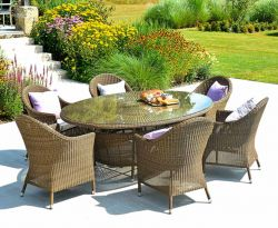 Alexander Rose San Marino Wicker Oval Garden Table with Glass