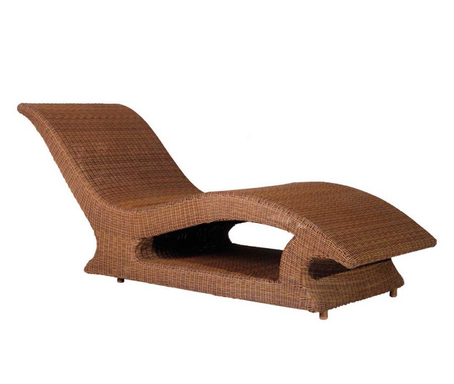Alexander Rose San Marino Wicker Raised Garden Sun Lounger with Cushion