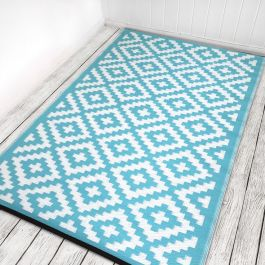 120cm x 180cm (4ft x 6ft) Reversible Outdoor Nirvana Rug - Aqua Sky / White