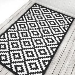 120cm x 180cm (4ft x 6ft) Reversible Outdoor Nirvana Rug - Black / White