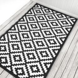 180cm x 270cm (6ft x 9ft) Reversible Outdoor Nirvana Rug - Black / White