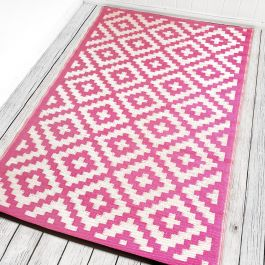 150cm x 240cm (5ft x 8ft) Reversible Outdoor Nirvana Rug - Pink / Cream