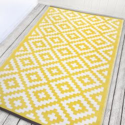 90cm x 150cm (3ft x 5ft) Reversible Outdoor Nirvana Rug - Yellow / White