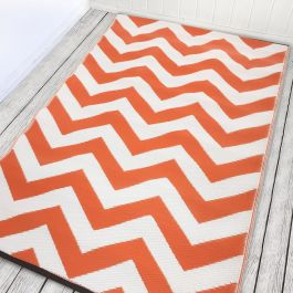 150cm x 240cm (5ft x 8ft) Reversible Outdoor Psychedelia Rug - Orange / White