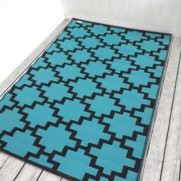 120cm x 180cm (4ft x 6ft) Reversible Outdoor Solitude Rug - Chestnut / Turquoise
