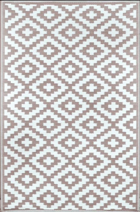 90cm x 150cm (3ft x 5ft) Reversible Outdoor Nirvana Rug - Taupe / White
