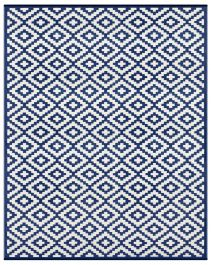 150cm x 240cm (5ft x 8ft) Reversible Outdoor Nirvana Rug - Navy Blue / White