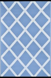 90cm x 150cm (3ft x 5ft) Reversible Outdoor Diamond Rug - Powder Blue / White