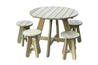 Round Wooden Garden Table and Stool Set