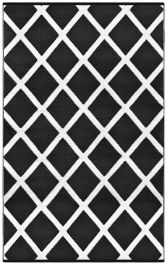 90cm x 150cm (3ft x 5ft) Reversible Outdoor Diamond Rug - Black / White