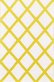 90cm x 150cm (3ft x 5ft) Reversible Outdoor Diamond Rug - Mimosa Yellow / Cream