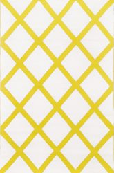 150cm x 240cm (5ft x 8ft) Reversible Outdoor Diamond Rug - Mimosa Yellow / Cream