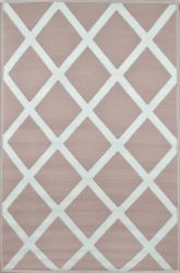 120cm x 180cm (4ft x 6ft) Reversible Outdoor Diamond Rug - Warm Taupe / Cream