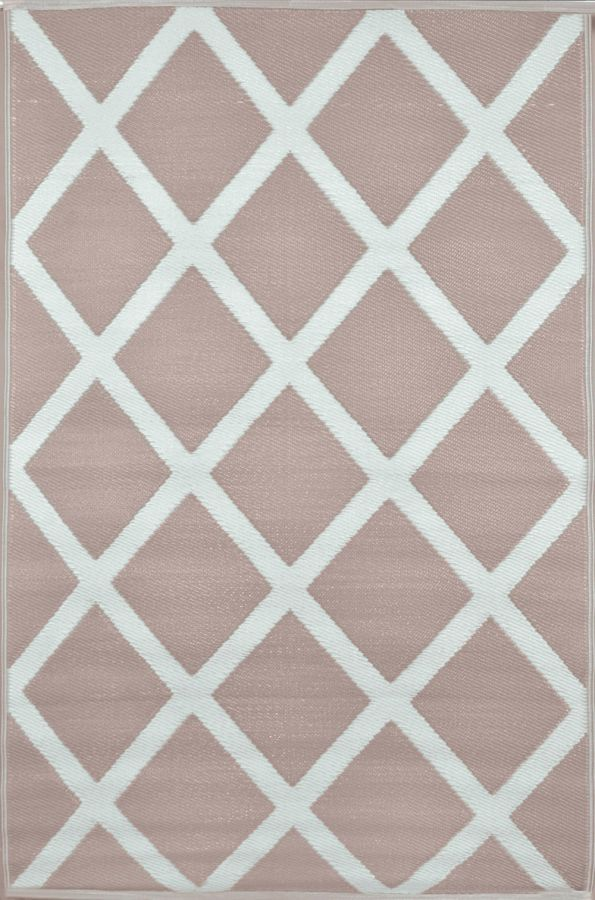 150cm x 240cm (5ft x 8ft) Reversible Outdoor Diamond Rug - Warm Taupe / Cream