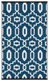 120cm x 180cm (4ft x 6ft) Reversible Outdoor Modern Rug - Dark Blue / White