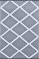 150cm x 240cm (5ft x 8ft) Reversible Outdoor Legend Rug - Charcoal Grey / White