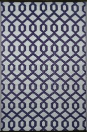 90cm x 150cm (3ft x 5ft) Reversible Outdoor Valencia Rug - Plum / Grey