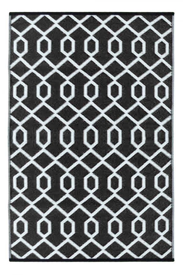 120cm x 180cm (4ft x 6ft) Reversible Outdoor Valencia Rug - Black / White