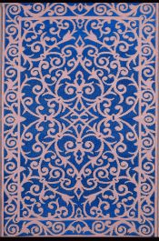 150cm x 240cm (5ft x 8ft) Reversible Outdoor Gala Rug - Classic Blue / Dust Pink