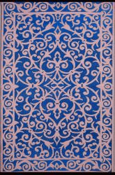90cm x 150cm (3ft x 5ft) Reversible Outdoor Gala Rug - Classic Blue / Dusty Pink