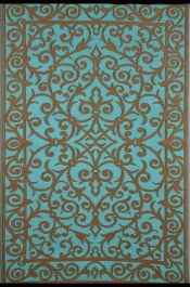 90cm x 150cm (3ft x 5ft) Reversible Outdoor Gala Rug - Turquoise / Gold