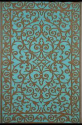 150cm x 240cm (5ft x 8ft) Reversible Outdoor Gala Rug - Turquoise / Gold