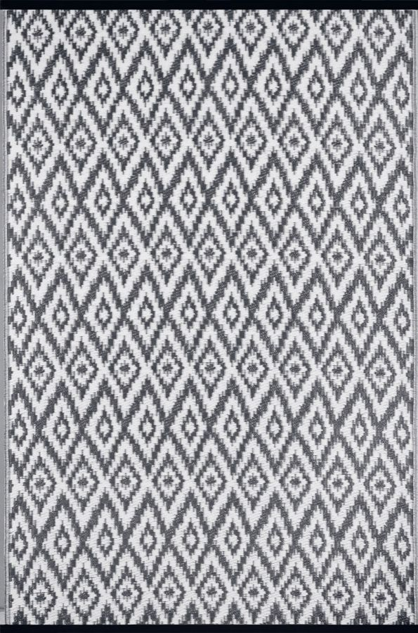 120cm x 180cm (4ft x 6ft) Reversible Outdoor Espero Rug - Charcoal Grey / White