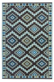 120cm x 180cm (4ft x 6ft) Reversible Outdoor Regal Rug - Coffee Brown / Light Blue
