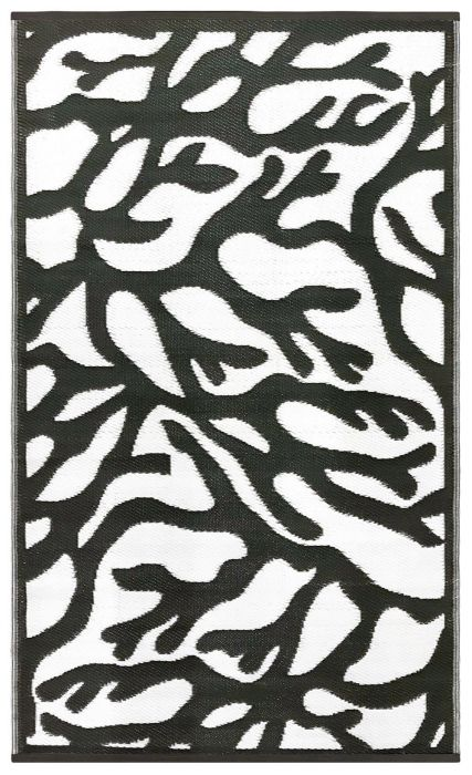 120cm x 180cm (4ft x 6ft) Reversible Outdoor Branches Rug - Black / White