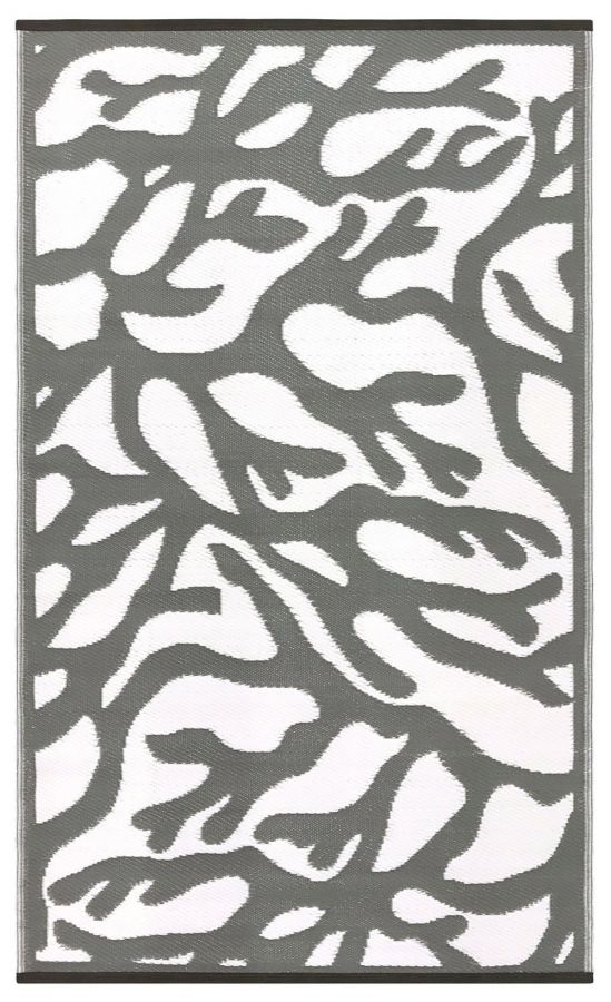 120cm x 180cm (4ft x 6ft) Reversible Outdoor Branches Rug - Grey / White
