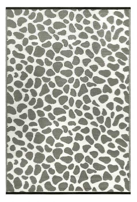 90cm x 150cm (3ft x 5ft) Reversible Outdoor Pebbles Rug - Grey / White
