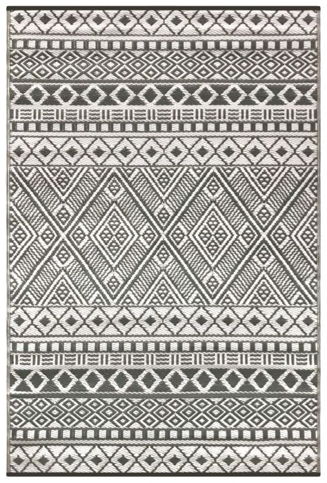 150cm x 240cm (5ft x 8ft) Reversible Outdoor Relic Rug - Grey / White