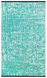 120cm x 180cm (4ft x 6ft) Reversible Outdoor Cosmopolitan Rug - Turquoise / White
