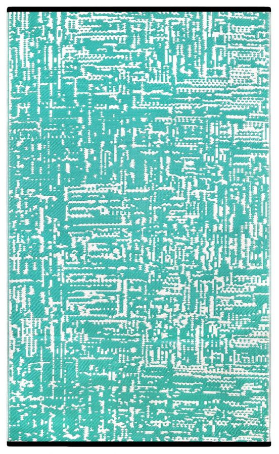 90cm x 150cm (3ft x 5ft) Reversible Outdoor Cosmopolitan Rug - Turquoise / White