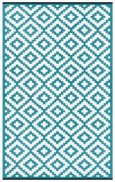 120cm x 180cm (4ft x 6ft) Reversible Outdoor Nirvana Rug - Teal Blue / White