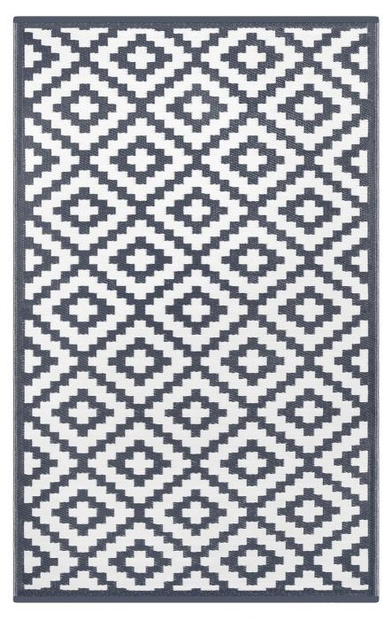 90cm x 150cm (3ft x 5ft) Reversible Outdoor Nirvana Rug - Charcoal Grey / White