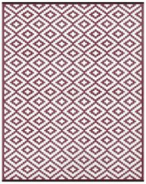 90cm x 150cm (3ft x 5ft) Reversible Outdoor Nirvana Rug - Port Wine / White