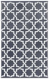 90cm x 150cm (3ft x 5ft) Reversible Outdoor Serene Rug - Charcoal Grey / White