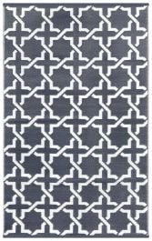 90cm x 150cm (3ft x 5ft) Reversible Outdoor Serene Rug - Grey / White