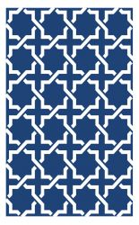 150cm x 240cm (5ft x 8ft) Reversible Outdoor Serene Rug - True Blue / White