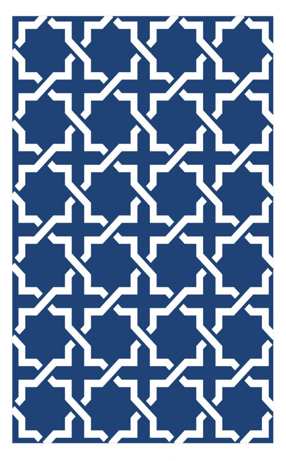 90cm x 150cm (3ft x 5ft) Reversible Outdoor Serene Rug - True Blue / White