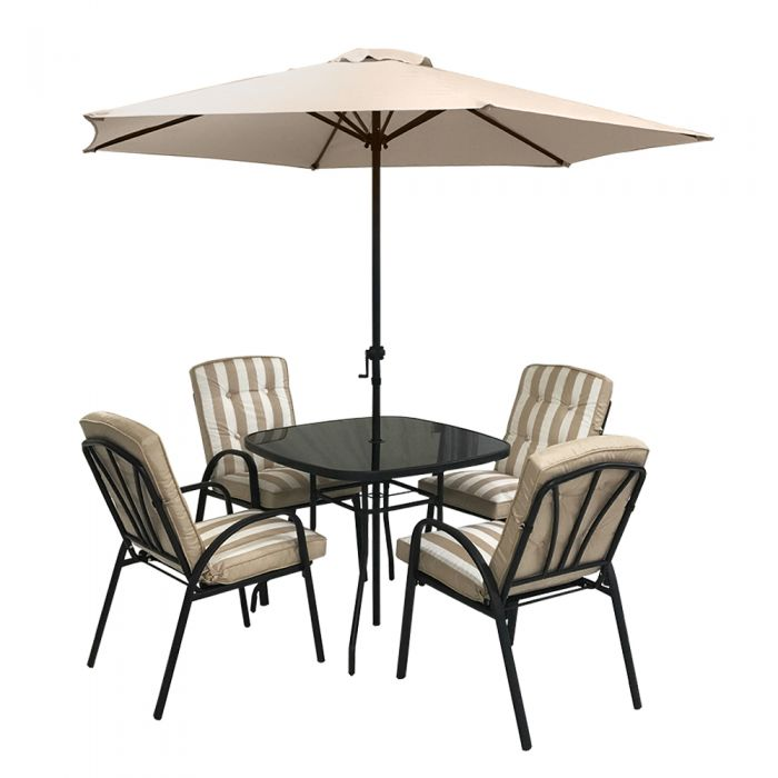 Hadleigh 4 Seater Square Garden Dining Furniture Set In Beige By Hectare®