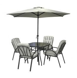 Hadleigh 4 Seater Garden Dining Furniture Set In Grey By Hectare®